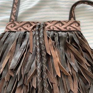 Lucky Brand.   small fringe crossbody purse.